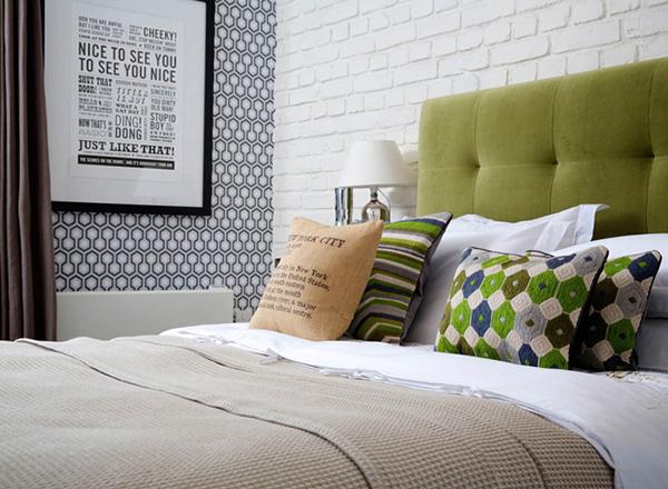 panel de ladrillo blanco macizo en dormitorio OldStonesEspacios castellon