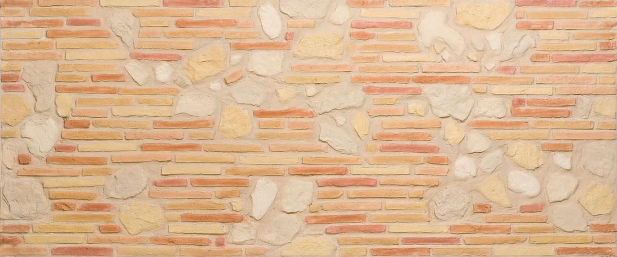 pared ladrillo con panel decorativo fibra de vidrio oldstones
